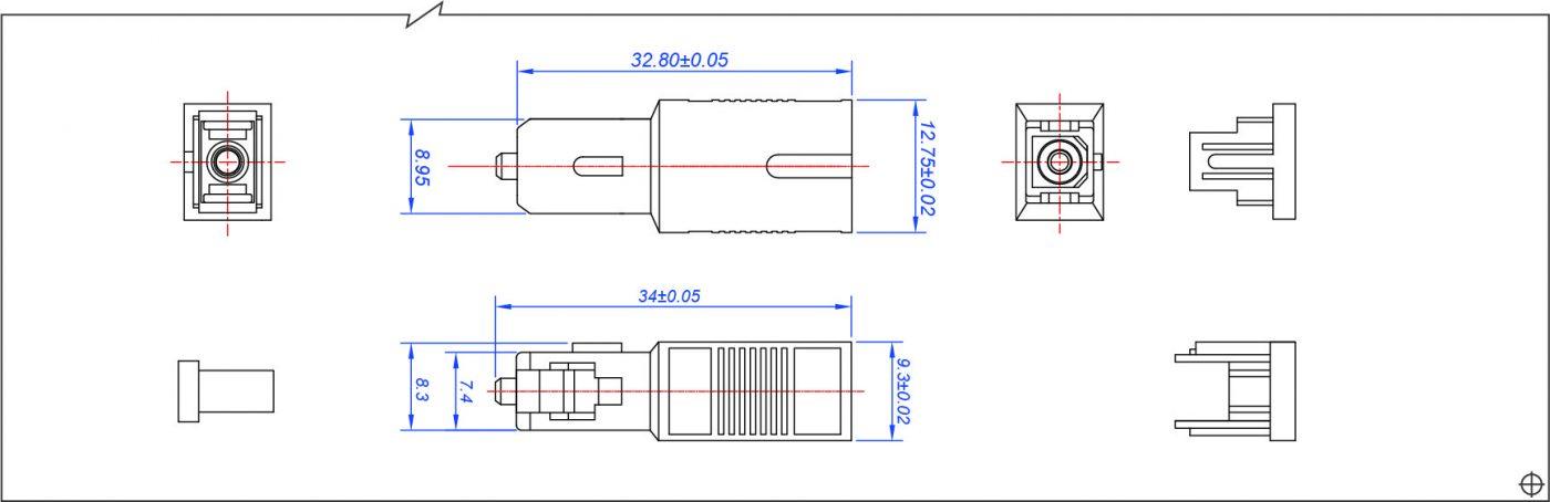 Attenuator SC M-F AT02135T Drawing